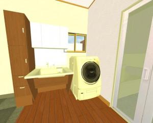 洗面所リフォーム洗濯機画像
